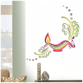 Wall Wings Diwali Diya Oil Lamp With Flame Artistic Vector Abstract Art Wall Sticker/Decals (6434)