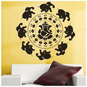Wall Wings Dreams Ganesha With Elephants In Circle Vector Art For Doors, Glass Doors, Fridge, Pooja Room Wall Sticker
