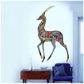 Wall Wings Deer In Artistic Multicolour Floral Mural Art (Good Luck) Abstract Art D cor Wall Sticker/Decals (6951)