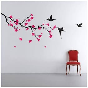 Wall Wings Dark Pink Flowers On Tree Branch With Humming Bird Wall Sticker