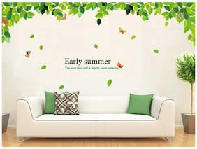 Wall Wings Early Summer The Wind Blew With A Slightly Warm Meaning Lush Green Leaves Wall Stickers/Decals (901)