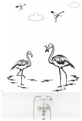 Wall Wings Flamingo & Cranes Pencil Art Wall Sticker