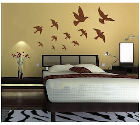 Wall Wings Flying Birds Silhouette In Light Brown In Different Sizes & Flying Pose Abstract Art Wall Sticker/Decals (7033)