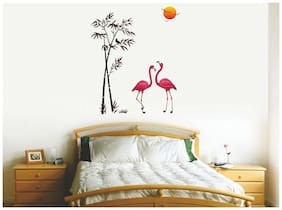 Wall Wings Flamingo Birds In Sunset & Bamboo Plant Silhoutte Wall Sticker