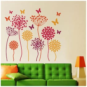 Wall Wings Flowers In Abstract Style (Multicolor) Wall Sticker/Decals (6963)