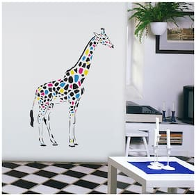 Wall Wings Giraffee With Multicoloured Spotted Patches Mural/Abstract Art D cor Wall Sticker/Decals (6950)