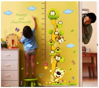 Wall Wings Growth Chart/Height Chart For Kids With Happy and Good Friends Cute Tree Animation With Height ScaleTree HouseOwls Monkey BalloonsButterfly cloudsLeaves Wall Sticker/Decals (5700)