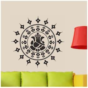 Wall Wings Ganesha With Elephants In Circle Vector Art For Doors Glass Doors Fridge Pooja Room Wall Sticker/Decals (6680)