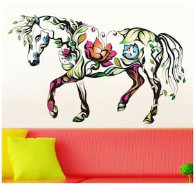 Wall Wings Horse Mural Floral Art Wall Sticker/Decals (6960)