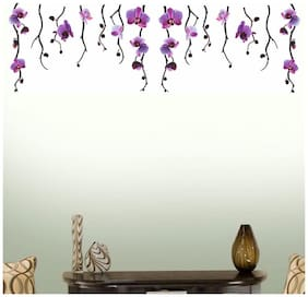 Wall Wings Hanging Purple Flower Vines With Purple Floral Blooms For Wall Top Border Abstract Art Wall Sticker/Decals (57107)