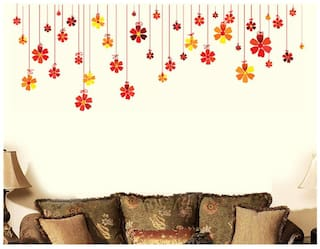 Wall Wings Hanging Flowers In Red Orange & Yellow From Ceiling Wall Sticker/Decals (6973)