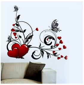 Wall Wings Heart Symbol Flower Vine Abstract - Vector Art D cor For Bedroom Sticker