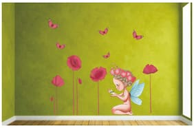 Wall Wings Holy Fairy Angle Baby Girl With Pink Flowers Wall Sticker