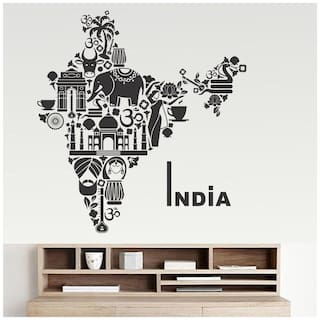 wall wings India Map Motivational/Quotes Motivational/Quotes PVC  Sticker