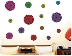 Wall Wings Illusional Colourful Circle Abstract Hypnotizing Wall Sticker/Decals (6942)