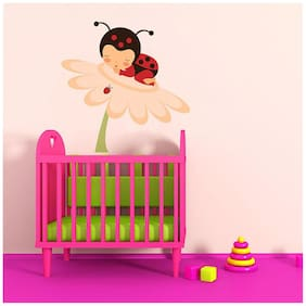Wall Wings Kids Room Baby Angel/Fairy With Wings In Lady Bug Attire (Dress) Sleeping On A Flower Animation/Cartoon Walls Sticker/Decals (6491)