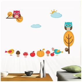 Wall Wings Kids Room Decor Birds Fruits Mushroom Owl Cartoon Animation Wall Sticker/Decals (6941)