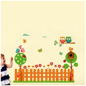 Wall Wings Kids Garden Cartoon Animation Of Fencing With Chirping Birds Owl & Butterflies Wall Sticker/Decals (6955)