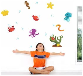 Wall Wings Kids Room Under Sea/Ocean Friends (star fish sea horse octopus blue jelly fish red crab red fish green plankton) In Water Bubbles Background Wall Sticker/Decals (5780)