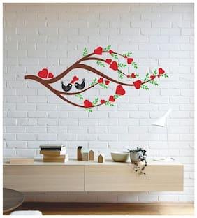 Wall Wings Love Birds On Brown Branch, Green Leaves Heart Shaped Flowers Wall Sticker