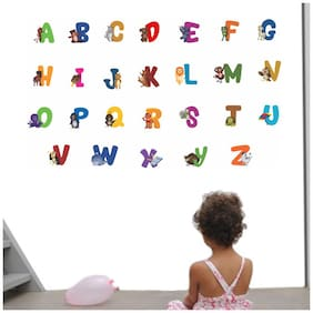 Wall Wings Learning Alphabets Animal Cartoon Educational Animation Wall Sticker/Decals (6954)