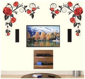 Wall Wings Large Royal Red Roses Climbing Vines Vector - Abstract D cor Sticker/Decals (5759)