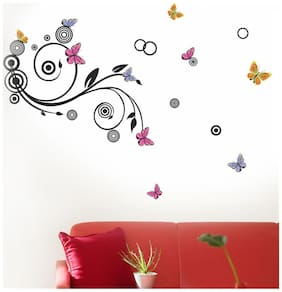 Wall Wings Lovely Colourful Butterflies On Vines Vector - Abstract Art Sticker/Decals (5737)