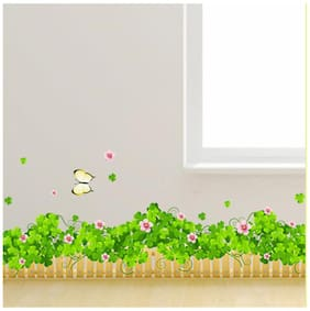 Wall Wings Lush Green Fencing Leaves With Pink Flowers & Butterflies Border Design For Wall Borders Wall Sticker/Decals (5713)