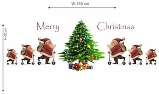 Wall Wings Merry Christmas Jolly Santa On Skating Scooter With Gifts Christmas wall Sticker