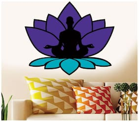 Wall Wings Meditation In A Lotus In A Lotus Sitting Position Spritual In Purple & Blue Wall Sticker/Decals (57136)