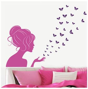 Wall Wings Modern Woman In Pink With Magic Butterflies Ascending Abstract Art Wall Sticker