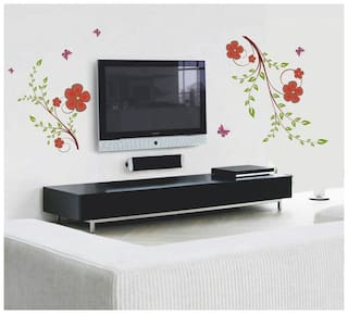 Wall Wings olive leaves with red flowers butterflies for living room Wall Sticker
