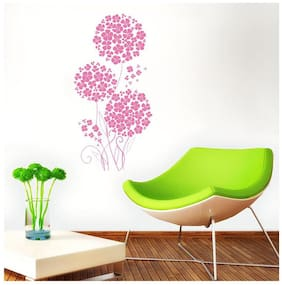 Wall Wings Pink Flowers Bunch In Abstract - Vector Art/Modern Art Wall Sticker/Decals(5786)