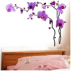 Wall Wings Purple Flowers In Full Bloom On Vines Hanging Abstract Art Wall Stickers/Decals (57109)