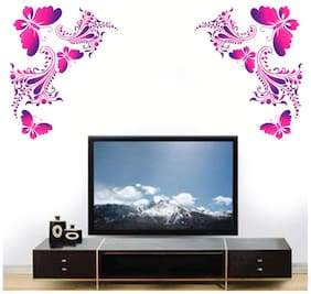 Wall Wings Pretty Pink Butterflies On Artistic Vines Abstract Vector Art Wall Sticker/Decals (5776)