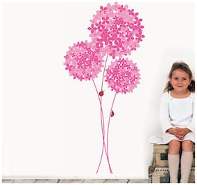 Wall Wings Pink Large Flower Bunch With Small & Big Flowers With Ladybugs Round For Girls Room Sticker/Decals (5735)
