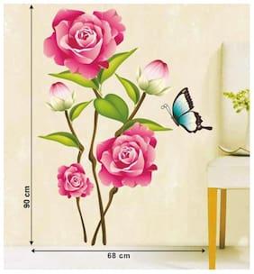 Wall Wings Pink Rose Flower Bunch Art Wall Sticker