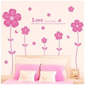 Wall Wings Pink Daffodil Flowers On Plants With A Love Phrase In Different Sizes D cor Wall Sticker/Decals (6426)