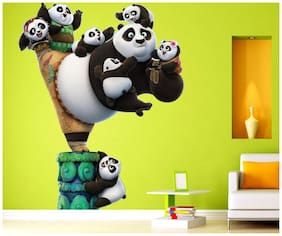 wall wings Panda with cute babies Cartoon characters Cartoon characters PVC  Sticker