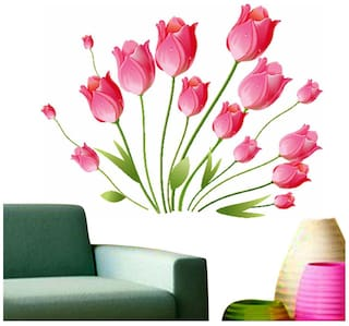 Wall Wings Pink Tulip Flowers In Full Bloom Bunch Abstract Art/Modern Art Wall Sticker/Decals (5799)