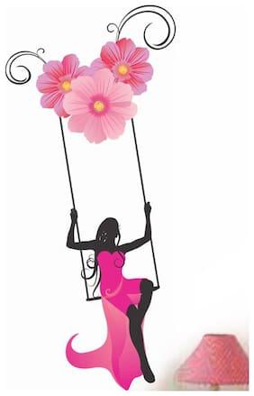 Wall Wings Pretty Girl Swinging with Flowers Wall Sticker