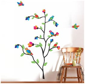 Wall Wings Plant With Colourful Birds And Leaves Wall Sticker/Decals (6979)