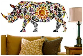 Wall Wings Rhino Floral Mural Art (Good Luck) Wall Sticker/Decals (6968)