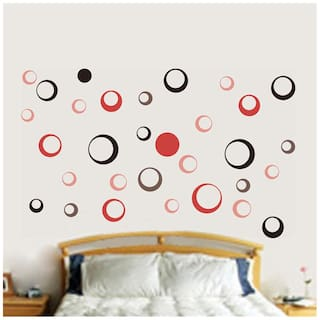 Wall Wings Retro Circle Abstract Design In Shades Of Red & Black Sticker/Decals (6976)