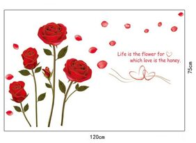 Wall Wings Red Roses With Green Stalk Stem & Leaves Life is the flower for which love is the honey Valentine's Day Wall Sticker/Decals (6005)