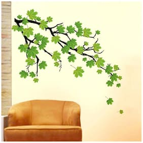 Wall Wings Realistic Effect Green Maple Leaves On A Branch Abstract Vector Art Wall Sticker/Decal (5768)