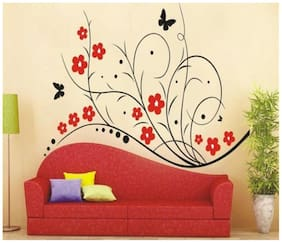 Wall Wings Red Flower Vine Abstract Mural Art Sticker/Decals (1730)