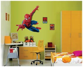 Wall Wings Superman 3D Animation In Blue & Red Attire For Children Kids Room Wall Sticker/Decals (6908)