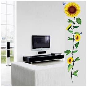 Wall Wings Single Vine Sunflowers In Bright Yellow With Butterflies Vector Art - Abstract Art Floral Design Wall Sticker/Decals (5721)
