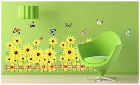 Wall Wings Sunflower Garden Field With Bamboo Fence & Colourful Lovely Butterflies Around Floral Wall Sticker/Decals (766)